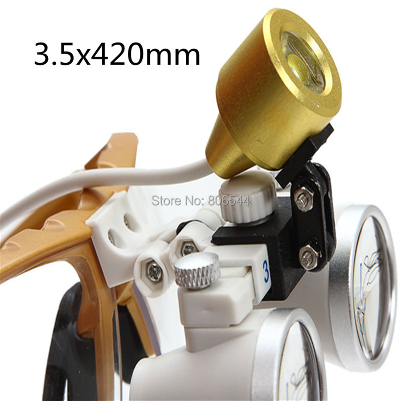 Free shipping New Golden 2.5X420 magnifier Dentist Dental Surgical Binocular Loupes Optical and Portable LED Head Light Lamp new red free shipping new 2 5x420 magnifier dentist dental surgical binocular loupes optical and portable led head light lamp 2015 a