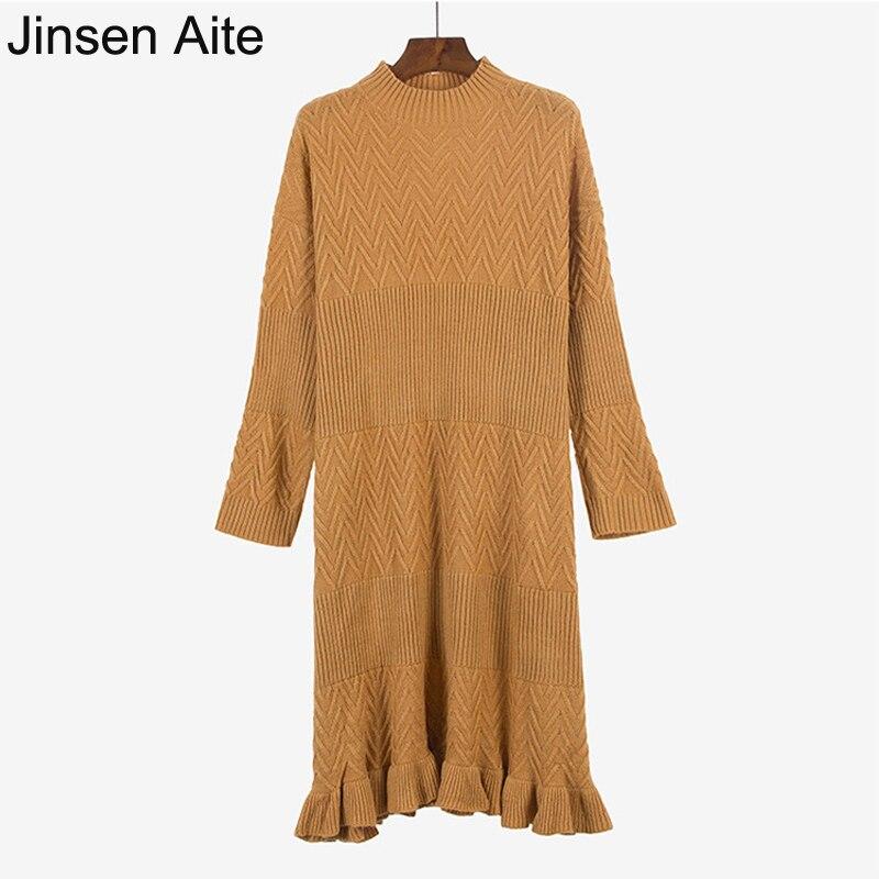 Jinsen Aite New Autumn Winter Knitted Dress Vintage Solid Women Long Sweater Dress Large Size Loose O-Neck Ruffles Vestidos JS75 free people new purple women s size large l surplice popover sweater dress $128
