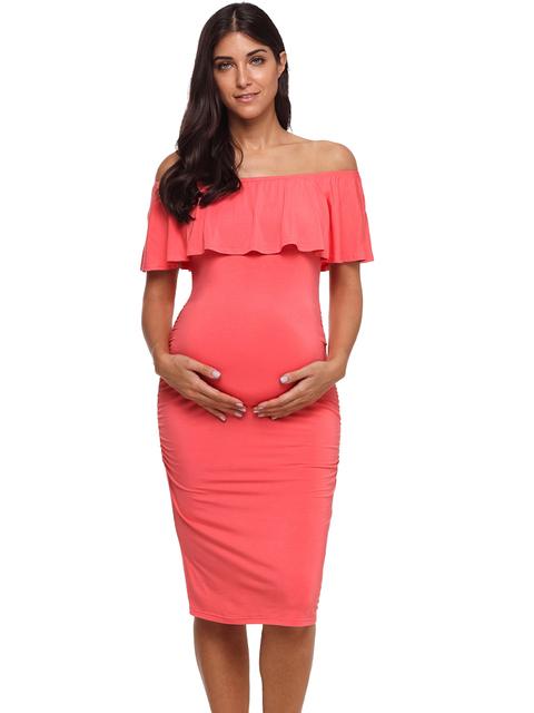 Ruffle Off Shoulder Knee Length Maternity Dress