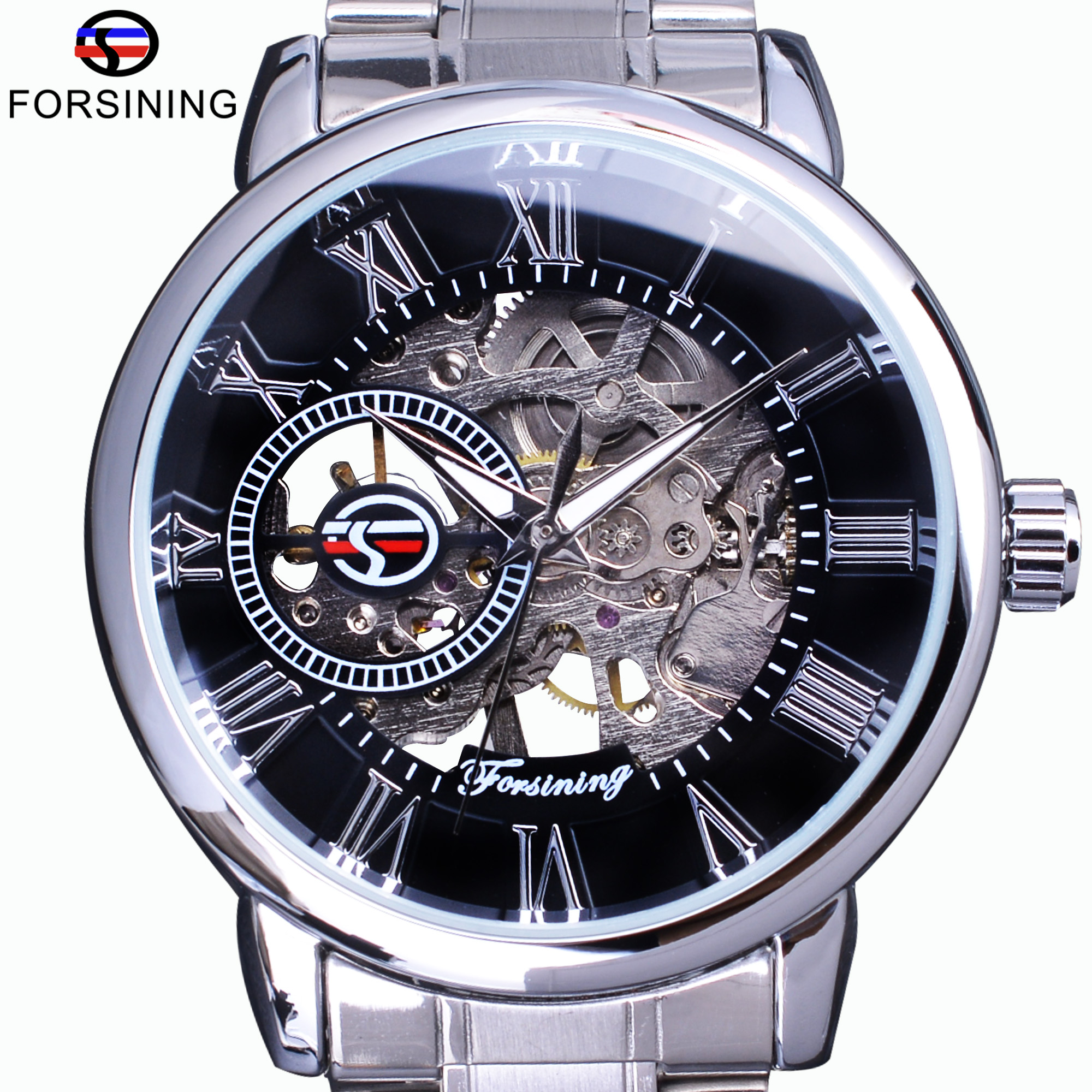 Forsining Classic Retro Series 3D Logo Transparent Dial Silver Steel Skeleton Clock Men Watch Top Brand Luxury Mechanical Watch forsining classic series black genuine leather strap 3 dial 6 hands men watch top brand luxury automatic mechanical watch clock
