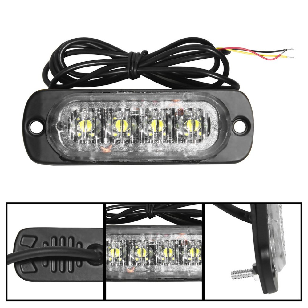 4 LED 12-24V Ultra-slim Car Vehicle Truck Strobe Flash Light Rear Side Light Car Emergency Warning Caution Lamp Car Styling