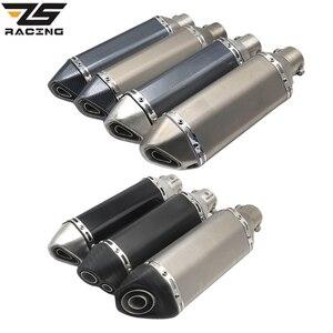 ZS Racing Universal Motorcycle Exhaust Modify AK Exhaust Muffler FZ6 CBR250 CB600 MT07 ATV Dirt Pit Bike Exhaust(China)