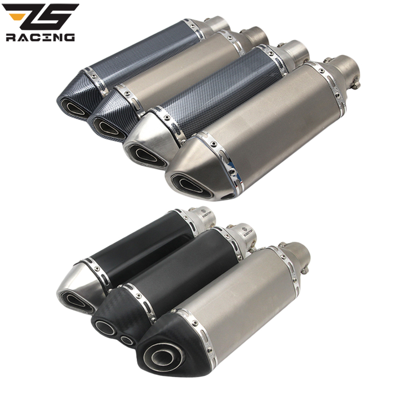 ZS Racing Universal Motorcycle Exhaust Modify Akrapovic Exhaust Muffler FZ6 CBR250 CB600 MT07 ATV Dirt Pit Bike Exhaust