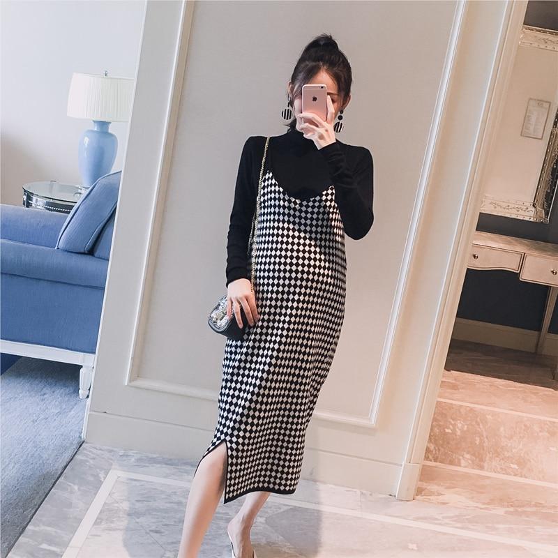 5060# 2PCS/Set Black Knitted Maternity Bottoming Shirts + Sling Plaid Dress Autumn Korean Fashion For Pregnant Women Pregnancy