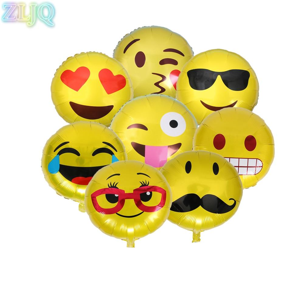 ZLJQ 10 pcs/lot 45*45 cm Emoji En Aluminium Feuille Ballons De Mariage Décoration Drôle Gonflable Ballon Pilotables Xmas Party Fournitures 6D