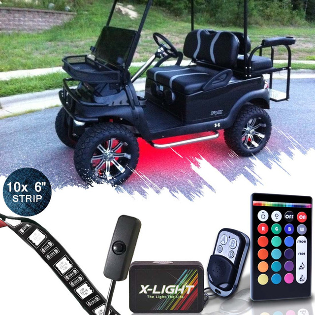 Golf Cart Underbody Glow Led Lighting Kit Smart 3 In 1 Accent Neon Strips Music Active Brake Mode Swith Cable 10x 6