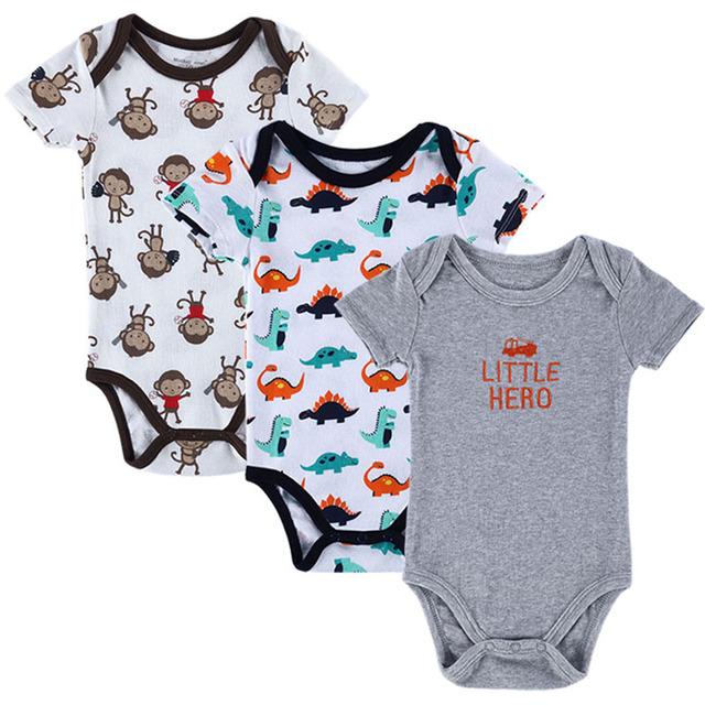 Bodysuits 3 PCS 100% Algodão Infantil do bebê Corpo Verão de Manga Curta Roupas Semelhantes Macacão Impresso Do Bebê Da Menina do Menino Bodysuits