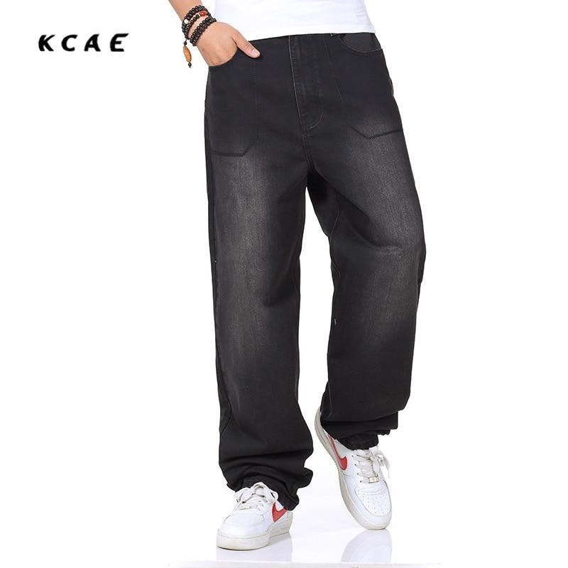 New Brand Big Men Black Baggy Jeans Teen Boys Hip Hop Jeans Long Loose Skateboard Fit Jeans Mens Harem Pants Plus Size 30- 46