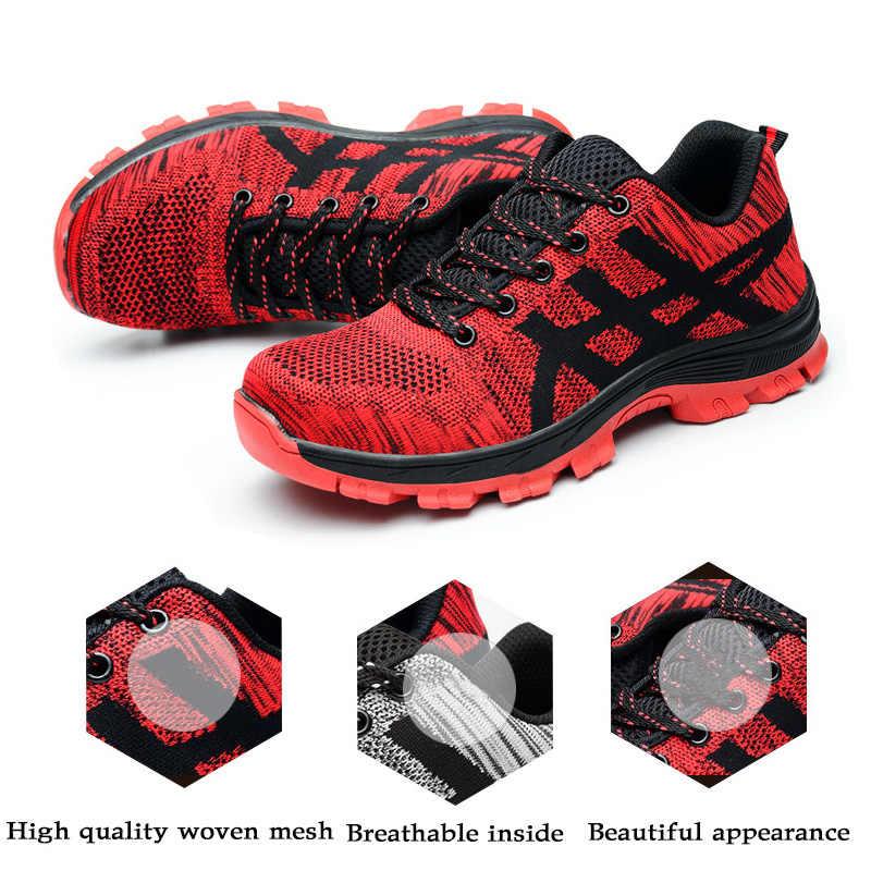 Güvenlik Ayakkabıları Moda ayakkabı Erkek Çelik Burun Kapakları iş ayakkabısı Nefes Yaz Takım Botları Korumak Ayakkabı Boyutu 35-46