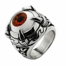 Super Vivid Eye Ring 316L Stainless Steel Fashion Biker Punk Ring Acrylic Eye stainless steel devil eye shape ring page 6
