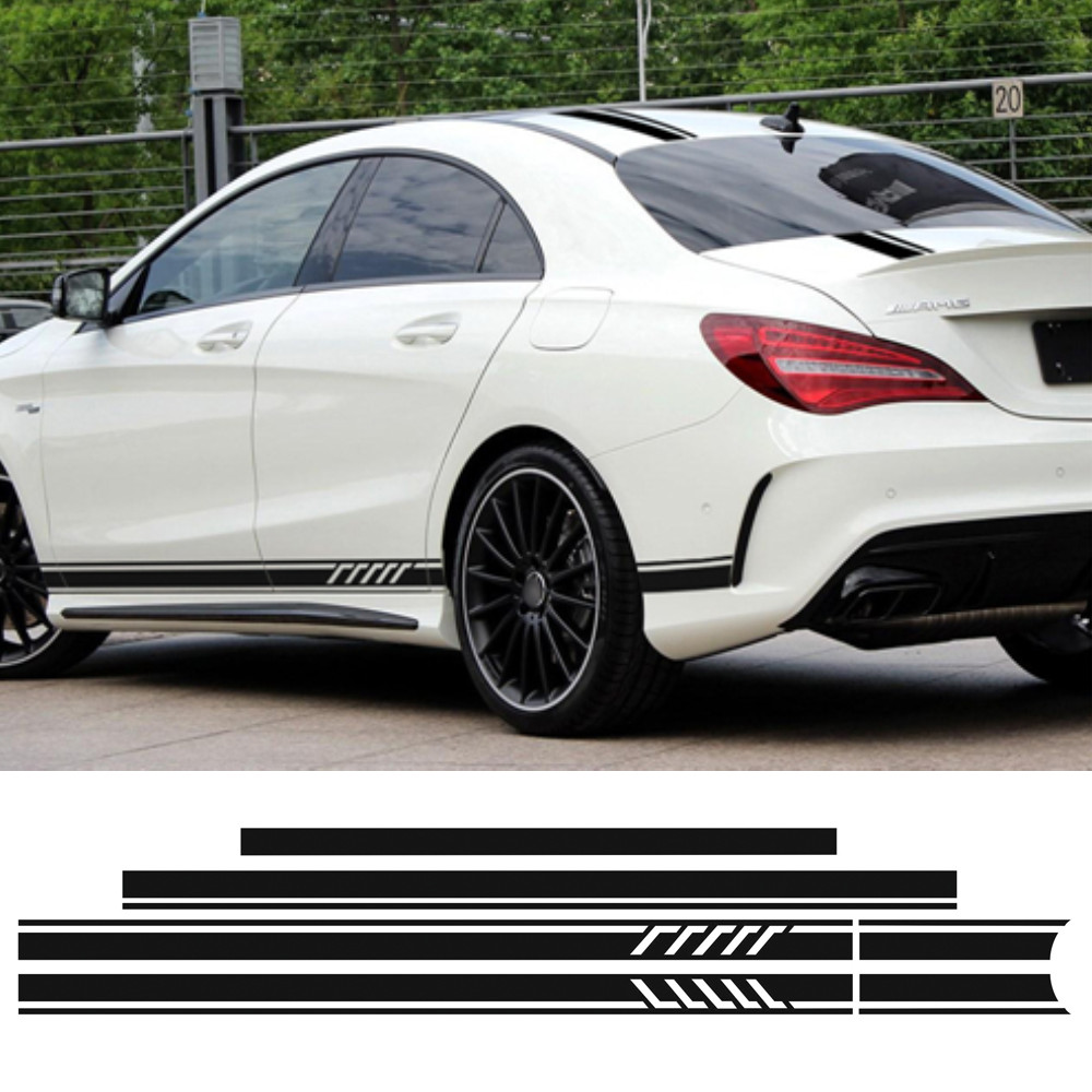 Edition 1 Style Top Hood Roof Side Stripe Skirt Stickers Decal for Mercedes Benz W117 C117 X117 CLA AMG Accessories Car Styling block stripe hanky hem skirt