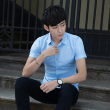 Summer business dressing free ironing professional tooling short-sleeved solid color casual thin shirt shipping