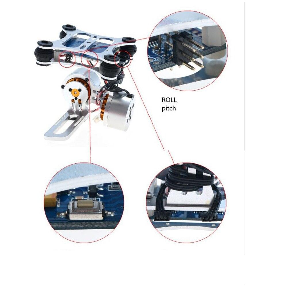 Dissipation thermique Anti Vibration utilisation facile contrôleur de cardan photographie aérienne accessoires réglables sans brosse 2 axes pour Gopro3 - 6