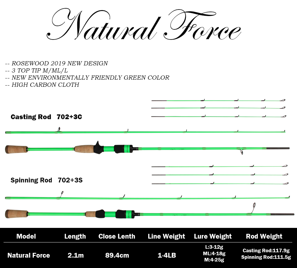 RoseWood Natural Force Series 2.1m High Carbon Cloth Fishing Rod 3 Tips L ML Medium Spinning Rod Casting Lure Rod 2 Sections  (1)