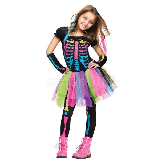 4c8f999e6938 Halloween Costume Punk Gothic Rainbow Skeleton Bone Girls Fancy Dress Up  Set Party Prop