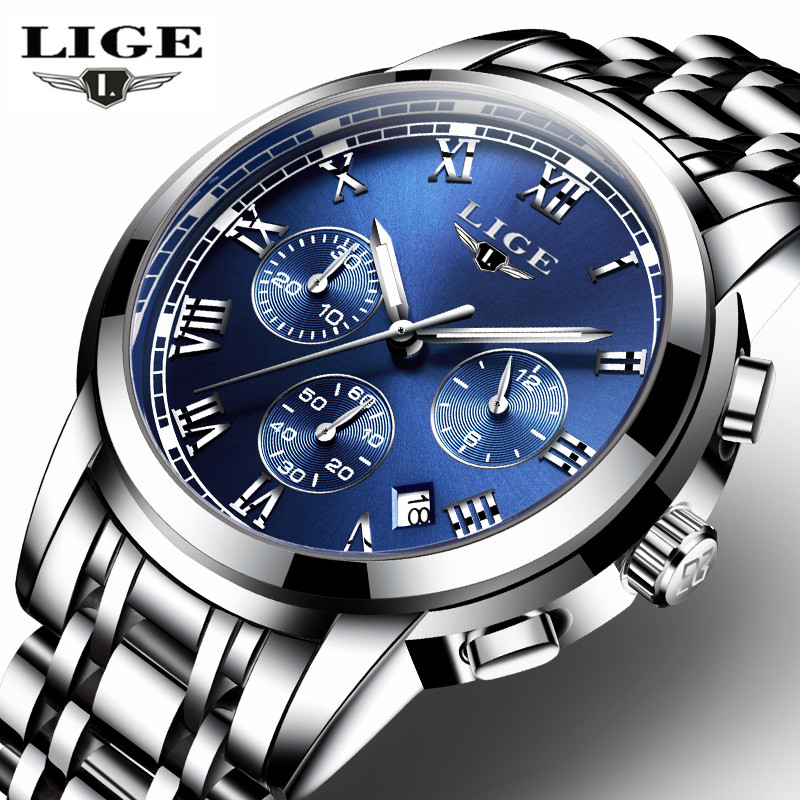 LIGE Mens Watches Top Brand Luxury Business Quartz Watch Men Stainless Steel Casual Waterproof Sport Watch