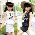 Хан издание девственница костюм новый пункт девочек летом из двух частей Cuhk дети детей платье высокое качество износа ребенка 2016
