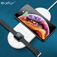 RAXFLY Беспроводной Зарядное устройство для iPhone X 8 XR XS Max для Apple I watch 2 3 10 Вт Qi Беспроводной зарядки для samsung S7 S8 S9 плюс Примечание 8 9 беспроводная ...