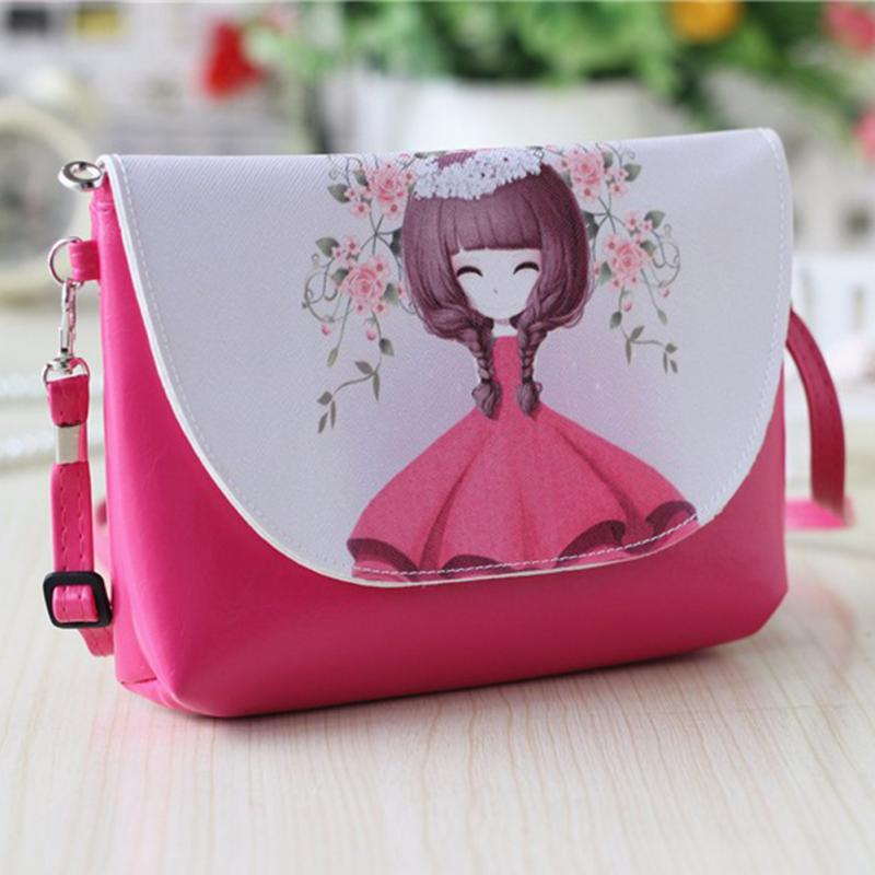 2018 New Women Stylish Cute Cartoon PU Leather Mini Shoulder Bag Crossbody Bag Messenger Bag