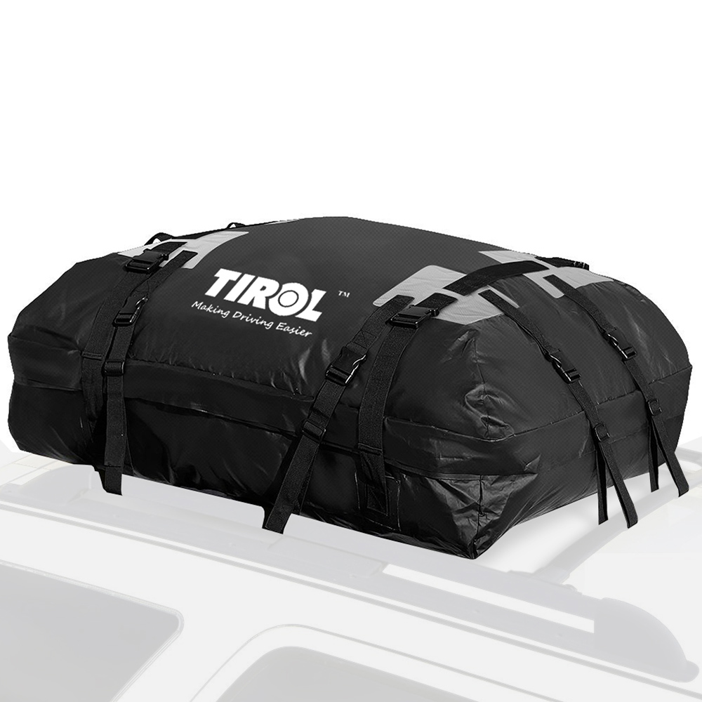 TIROL Waterproof Roof Top Carrier Cargo Luggage Travel Bag 15 Cubic Feet for Vehicles with Roof Rails kemimoto 15 cubic feet rooftop cargo carrier waterproof roof top cargo luggage travel bag for car truck suv vans with roof rails