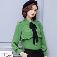 2017 Spring Summer Female Retro Chiffon Blusas Shirts Long Sleeve POLO Collar Black Bow Ruffles Blouses OL Lady Slim Tops