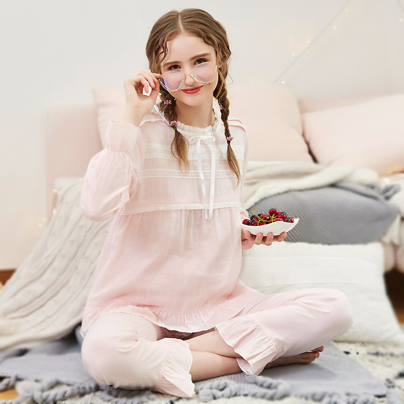 Maternity Nursing Maternity Sleepwear Women Comfy Loose Cotton Yarn Pajamas Long Sleeve 2Pcs/Set Breastfeeding Pregnancy A026