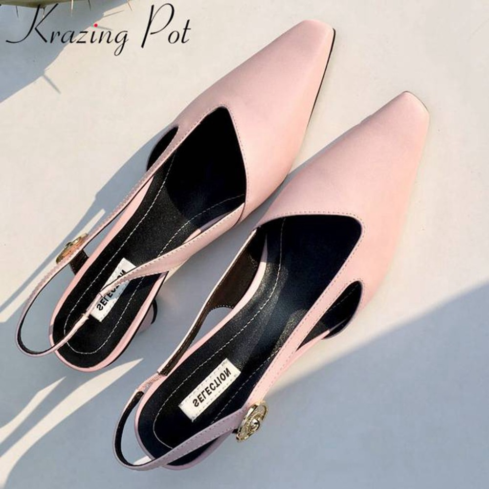 Krazing pot pretty girl movie star genuine leather slip on med heels slingback summer women sandals