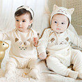Newborn baby clothes New 2016 Spring Baby Rompers + Cap 2pcs/Set Lovely Newborn Infant Clothes Baby Jumpsuit White Cat  Style