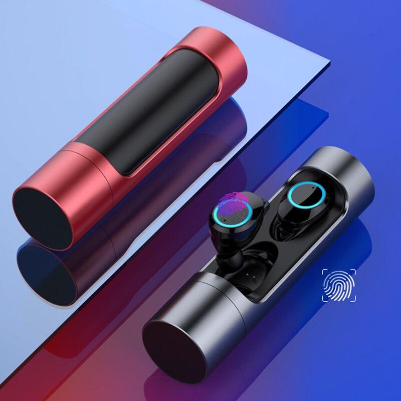Mini TWS True sans fil Bluetooth 5.0 écouteurs contrôle tactile écouteurs écouteurs jumeaux stéréo écouteurs pour IOS téléphone intelligent avec micro