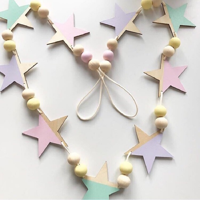 Nordic Wooden Star Beads Hanging Banners Decoration