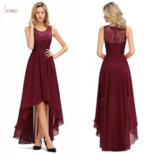 Burgundy Chiffon Long Bridesmaid Dresses 2019 High Low Wedding Party Guest Gown Scoop Neck Sleeveless vestido madrinha