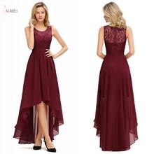 Burgundy Chiffon Long Bridesmaid Dresses 2019 High Low Weddi
