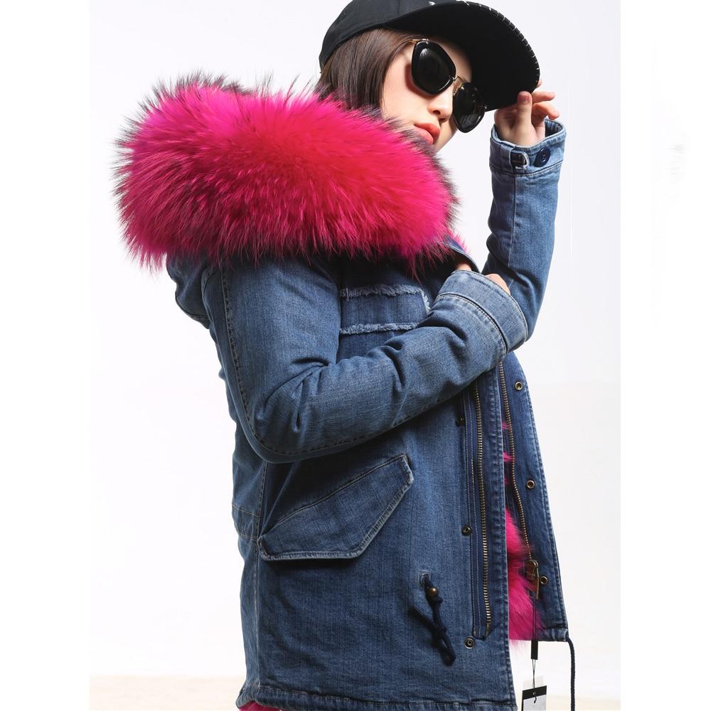 RosEvans Spring Winter 2 in 1 Detachable Fur Inner and Big Real Raccoon Fur Collar Women Parker Jean Jacket Coat Female B311 2016 rabbit hair in the cotton coat big raccoon fur collar jacket