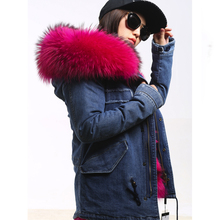 RosEvans Spring Winter 2 in 1 Detachable Fur Inner and Big Real Raccoon Fur Collar Women Parker Jean Jacket Coat Female B311