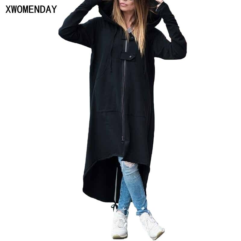 2019 Autumn Black Zipper Plus Size 5XL Velvet Long Coat Women Overcoat Clothes Fashion Long Sleeve Hooded Trench Coat