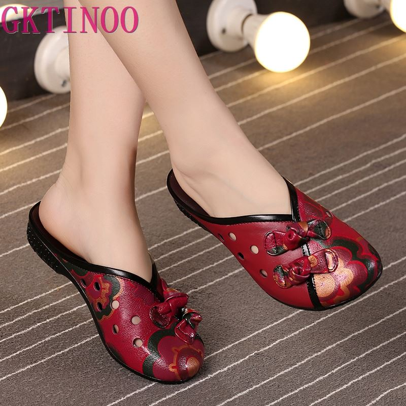 2019 Summer Slippers Genuine Leather Shoes Women Slides Cut Out Handmade Comfortable Women Flat Sandals