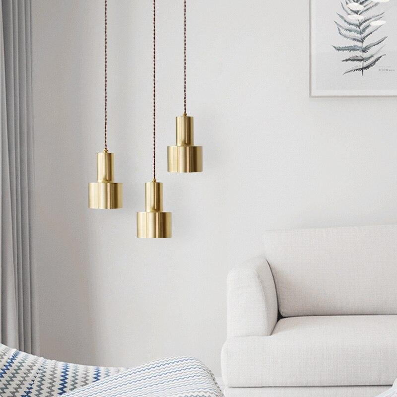 Nórdicos de cobre colgante de latón luz LED oro lámpara de suspensión nuevo para sala comedor cocina dormitorio iluminación F017
