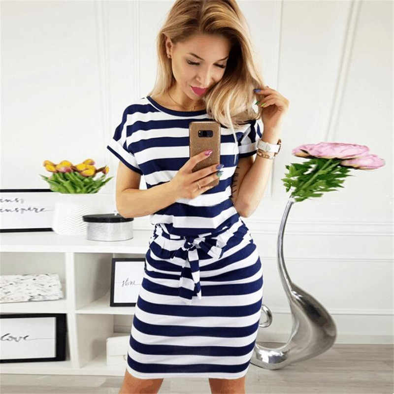 be19d12ce30 2019 летнее женское Полосатое Повседневное платье большого размера с коротким  рукавом с круглым вырезом прямое платье