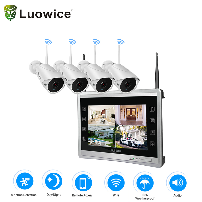 Wireless Security Camera System 4CH 1080P LCD NVR 2.0MP Outdoor Audio CCTV Wifi Camera Video Surveillance System Kit