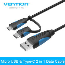 Vention USB 2 in 1 Data  Cable to Type C USB + Micro USB Male Adapter  0.5M/1M/2M/5M Cable for XiaoMi 4C Apple Macbook Samsung