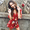 2018 Women S Sexy Summer Jumpsuits New Hot Sale Ruffles Red Short Playsuits Floral Printing V