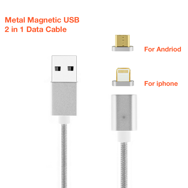 2 in 1 Magnetic Braided Micro USB Cord Fast Charger Cable for iPhone 8 Plus 7Plu X XS Huawei 7 Plus GALAXY S6 S7 Edge Plus G9300 in Data Cables from Consumer Electronics