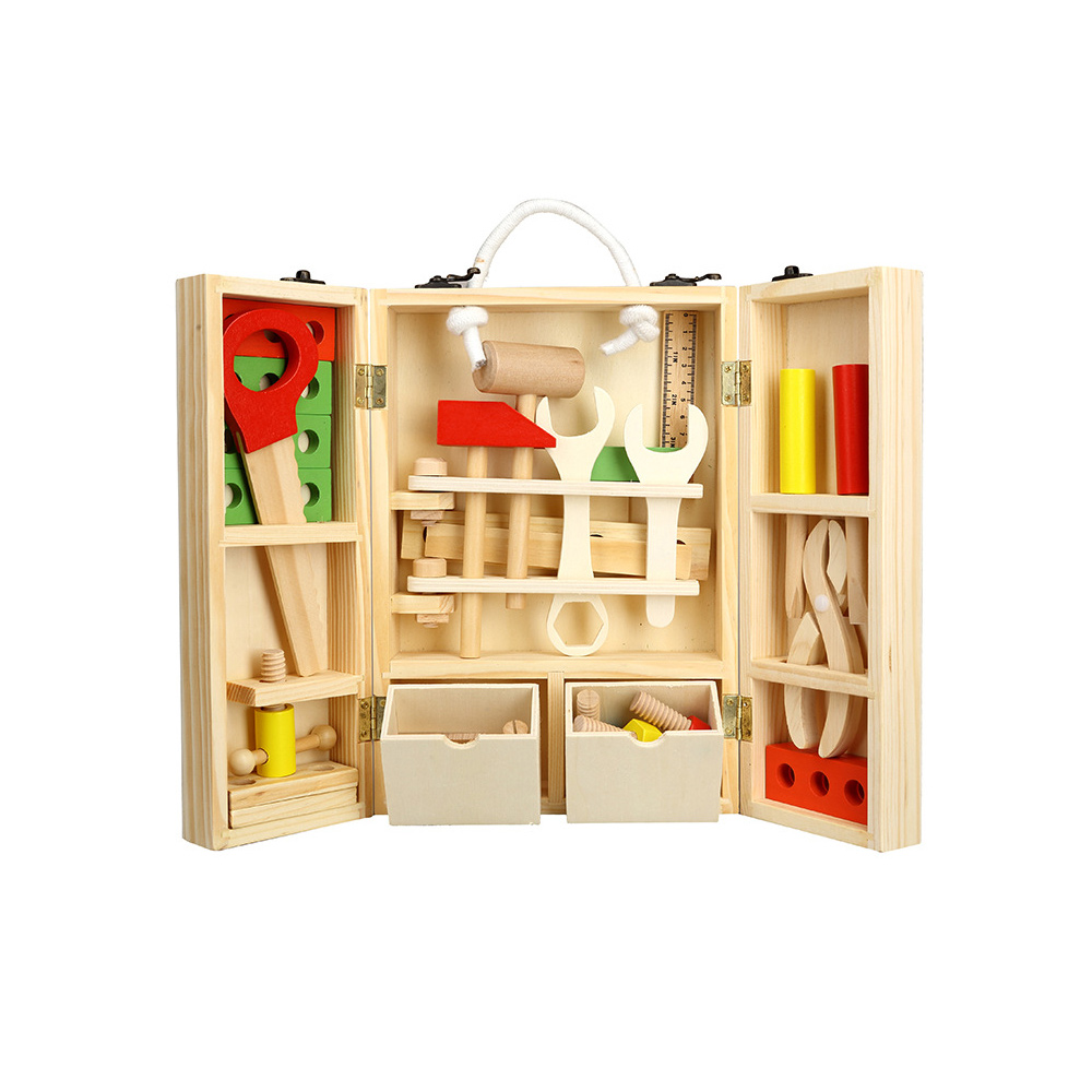 Wooden Carpenter's Tool Set Kids Toy Disassembly And Assembly Toy Children's 3D Puzzle Box Educational Wooden Toys for Kids Gift