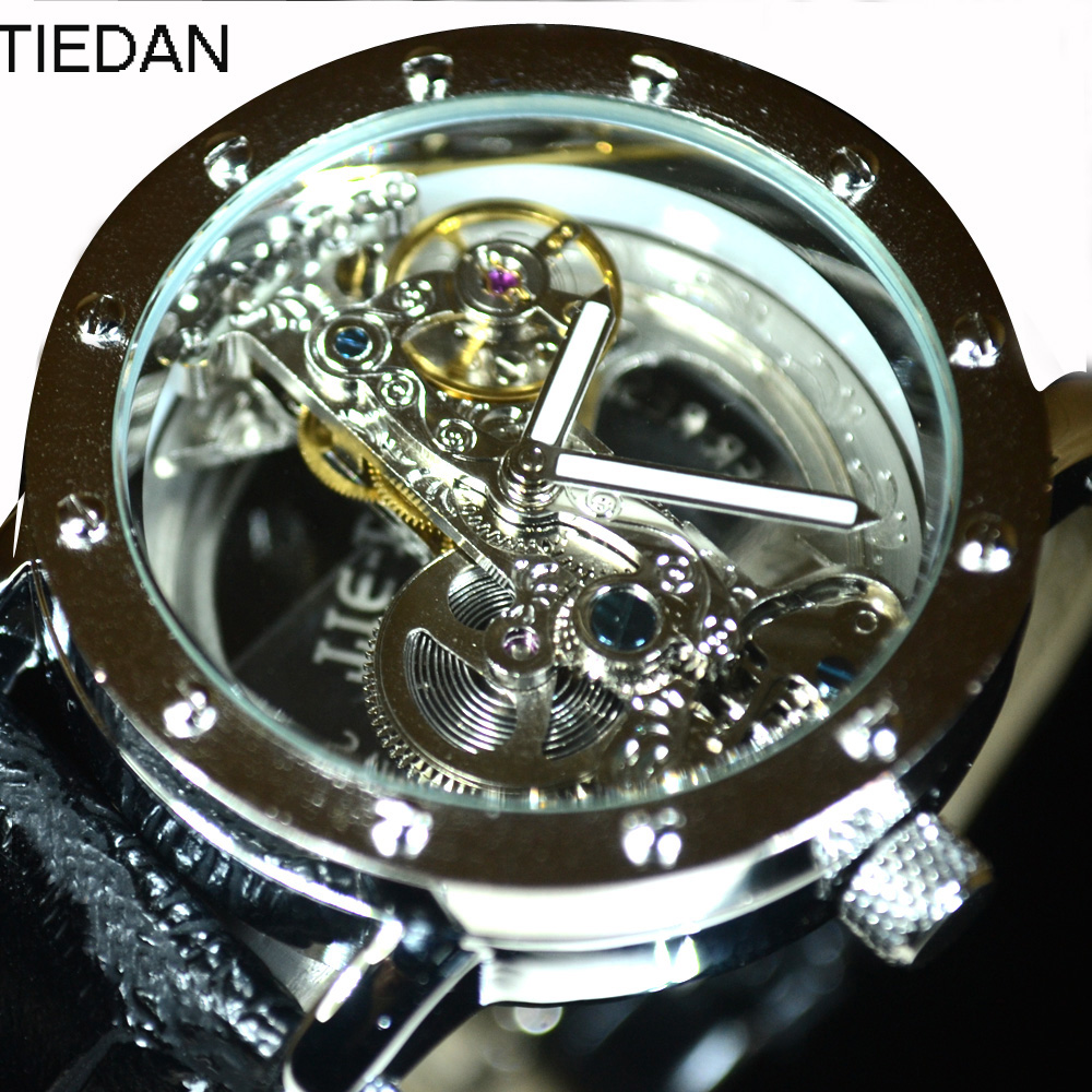 TIEDAN Luxury Brand Transparent Silver Tourbillon Male Wristwatch Genuine Leather Clock  Skeleton Automatic Mechanical Watches luxury brand tiedan transparent men mechanical watch gold tourbillon skeleton automatic watches mens wristwatch leather clock