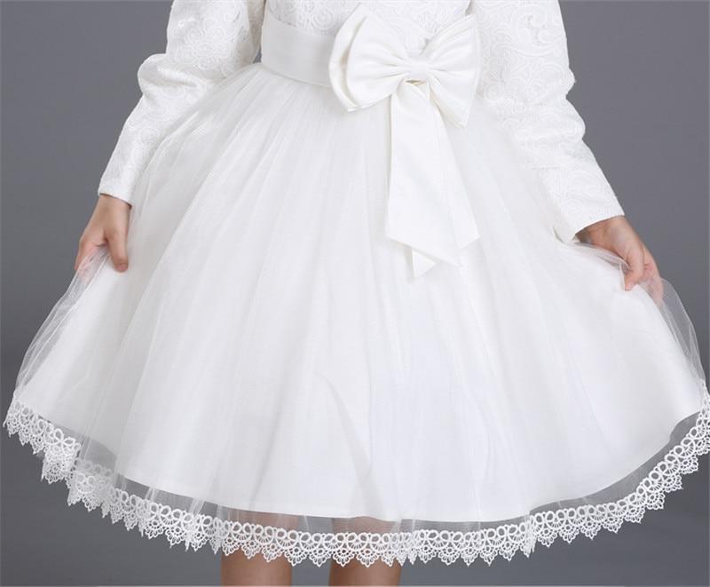 Őszi hercegnő fél fehér menyasszonyi ruhák gyerekek csípős íj - Gyermekruházat - Fénykép 6