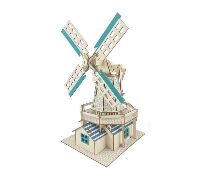 Дети Творческий 3D головоломки деревянные игрушки детские развивающие деревянные шале игрушка Голландская мельница