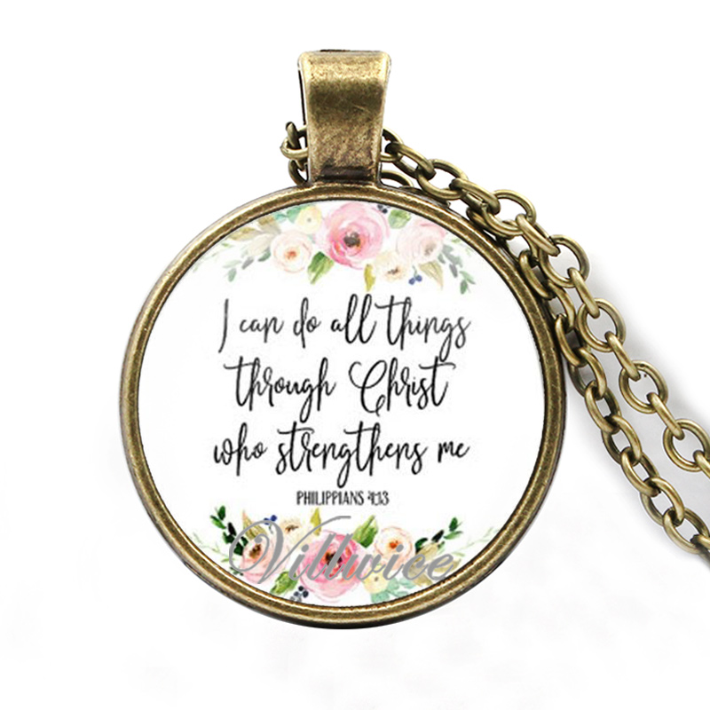 Philippians 4:13 I can do all things through christ who strengthens me bible verse necklace quote christian jewelry faith gifts(China)