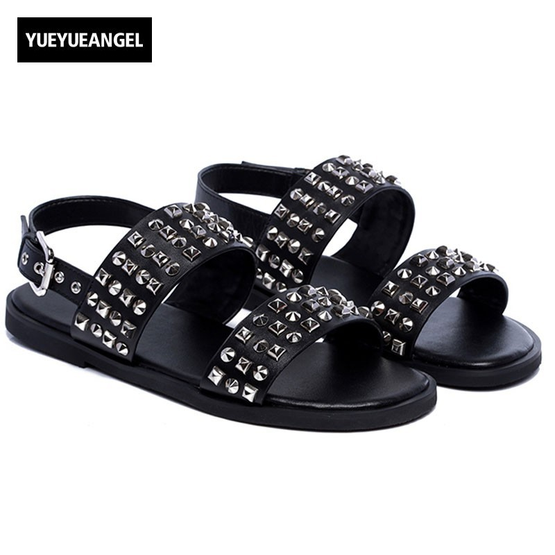England Style Summer Cow Leather Gladiator Sandals Shoes Men Rivet Open-toed Buckle Strap Sandals Luxury Outdoor Sandals Male [h]summer think mid heel dress sandals rough with the fish head word buckle sandals open toed sandals european dfgd 528
