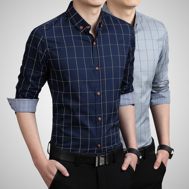 ZhenZhou Plaid Heren Shirt Lange Mouw Slim Fit M-5XL 100% Katoen - Herenkleding - Foto 3