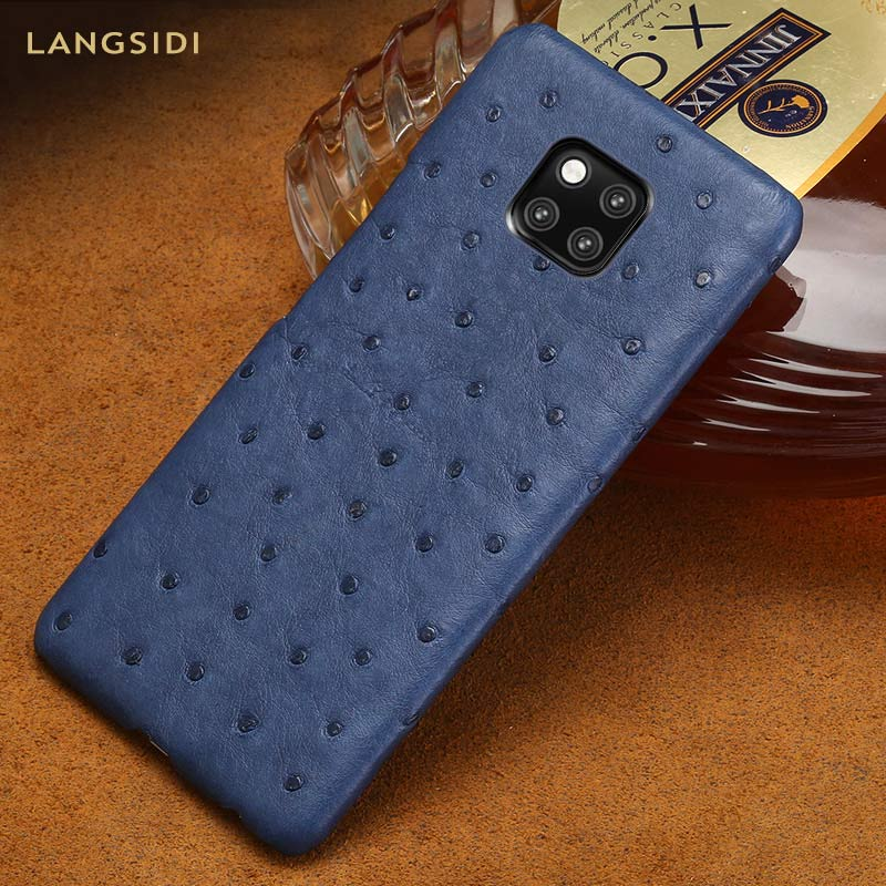 Genuine Ostrich Leather phone case for Huawei P30 P20 mate 20 pro Lite Luxury protective Back
